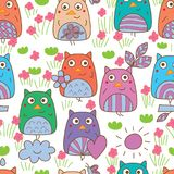 Owl hand wing green grasses seamless pattern. This illustration is design and drawing owl hand wing with green grasses and pink flower decoration in seamless Royalty Free Stock Photography