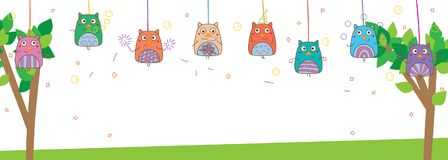 Owl hand wing path fun show wire hang banner. This illustration is design and drawing owl show with hang wire on tree and white color background in banner size Stock Image