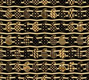Paisley simply shape gold chevron symmetry seamless pattern. This illustration is design and drawing paisley simply shape with black and gold colors, chevron stock illustration