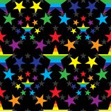 Star around rainbow color seamless pattern. This illustration is design and drawing star around rainbow colorful in seamless pattern black color background Royalty Free Illustration