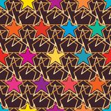 Star colorful symmetry style seamless pattern. This illustration is design and drawing star colorful symmetry style in seamless pattern Royalty Free Stock Images