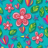Flower leaf star love seamless pattern Royalty Free Stock Images
