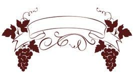 Illustration, design element -- grape with ribbon Royalty Free Stock Image