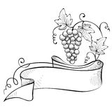 Illustration, design element -- grape with ribbon Royalty Free Stock Photography