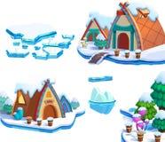 Illustration: Design för beståndsdelar för tema för värld för vintersnöis Modiga tillgångar Sörja trädet, is, snö, stugan, ön royaltyfri illustrationer