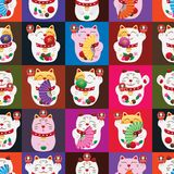 Maneki neko fat Daruma fan square seamless pattern. This illustration is design fat Maneki neko with decoration daruma and fans in square colorful with Stock Images
