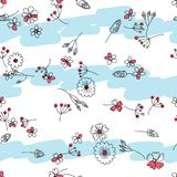 Flower line some color pastel cloud horizontal seamless pattern royalty free illustration