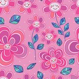 Flower line style cute smile seamless pattern. This illustration is design flower smile line style cute in pink color background seamless pattern Royalty Free Stock Photo