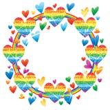 Love rainbow glitter rainbow line frame effect royalty free illustration