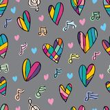 Love music note free drawing colorful seamless pattern. This illustration is design and free drawing love with music note colorful in seamless pattern on grey Royalty Free Stock Image