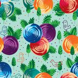 Geo rose circle group leaf bird line seamless pattern stock illustration