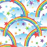 Rainbow half glitter seamless effect. This illustration is design glitter rainbow and star with sky cloud background on white color seamless pattern Royalty Free Stock Image