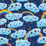 Cloud rainbow love music note seamless pattern Royalty Free Stock Photos