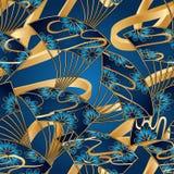 Japan fan cloud line long 3d blue gold seamless pattern. This illustration is design Japan fan with cloud line long 3d in blue and gold background seamless vector illustration