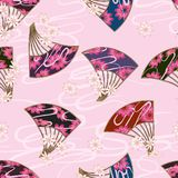 Japan fan flower style seamless pattern. This illustration is design Japan fan flower style seamless pattern in pink color background and style cloud line stock illustration