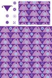 Japanese flag Mon symmetry purple seamless pattern. This illustration is design Japanese flag with Mon symmetry in purple background seamless pattern and display Stock Image