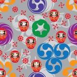 Japanese Mon Daruma style seamless pattern royalty free stock photo