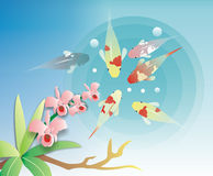 Illustration design of koi. Illustration design of asian goldfish carp and flower Royalty Free Stock Images