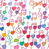 Love music note free paint seamless pattern. This illustration is design love music note with free paint style on white color background and seamless pattern Stock Photography