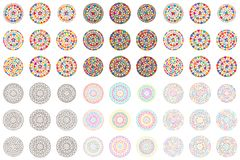 Love hand draw colorful mandala set. This illustration is design 9 mandala love with colorful glitter, colorful outline, silhouette shape and colorful line in Stock Photo