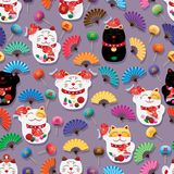 Maneki Neko fat Koi daruma colorful fan many seamless pattern Stock Photos