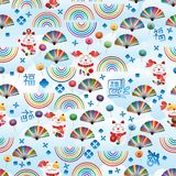Maneki Neko sky blue Fu rainbow line fan seamless pattern. This illustration is design Maneki Neko with Fu colorful fans and rainbow lines cloud sky blue blowing Royalty Free Stock Images