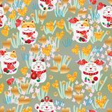 Maneki Neko love group seamless pattern. This illustration is design Maneko Neko with loves gold glitter decoration in stylish drawing background in seamless Stock Photos
