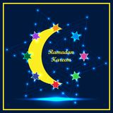 Ramadan Kareem six star around frame RGB. This illustration is design modern young Ramadan Kareem colorful six stars around the crescent with decoration effect Stock Photos