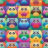 Owl big eye square symmetry color seamless pattern. This illustration is design owl big eye with square and tree symmetry color in seamless pattern stock illustration