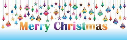Owl star pine Christmas line hang banner. This illustration is design owl, star and pine Christmas line hang in banner size vector illustration
