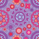 Love mandala flower line seamless pattern. This illustration is design pink and purple colors theme with simply mandala style in seamless pattern and lines Royalty Free Stock Photo