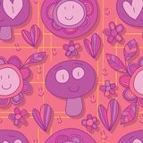 Natural smile purple seamless pattern. This illustration is design purple color theme natural smile with don`t know why yellow color line decoration in seamless Royalty Free Stock Photos