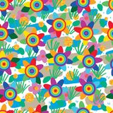 Rainbow flower golden glitter dot decor seamless pattern Royalty Free Stock Photography