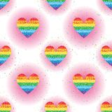 Love rainbow glitter spread seamless pattern. This illustration is design rainbow glitter love with spread and symmetry on white and pink colors background Vector Illustration