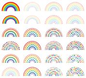 Rainbow half with love star colorful set. This illustration is design rainbow half with love star colorful in isolated object with set on white color background Royalty Free Stock Images