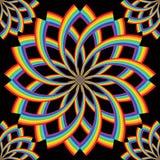 Rainbow line rotate flower symmetry seamless vector illustration