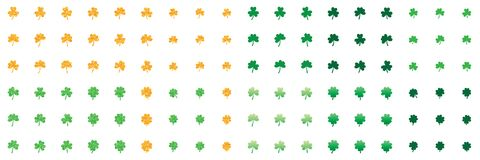 Shamrock leaf love gold glitter green set. This illustration is design 54 shamrock leaves love style with gold and green glitter in set isolated on white color Royalty Free Stock Photography