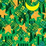 Ramadan six star gold glitter Ketupat silhoutte seamless pattern Stock Photos