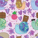 Snail delivery service pastel color seamless pattern. This illustration is design snail abstract delivery service in pastel color and purple theme color Royalty Free Stock Photo