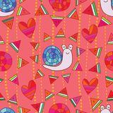 Snail watermelon around seamless pattern. This illustration is design snail watermelon and sun with around style in seamless pattern background Royalty Free Stock Photos
