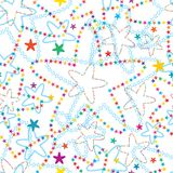 Star flower many colorful star seamless pattern. This illustration is design star flower many colorful with stars decoration and outline in  seamless pattern on Stock Photo