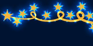 Star line gold glitter bouncing blue bright banner RGB Stock Photography