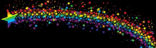 Star rainbow fly banner black