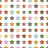 Star ribbon stripe colorful symmetry seamless pattern. This illustration is design star wear ribbon stripe colorful in symmetry seamless pattern on white color vector illustration