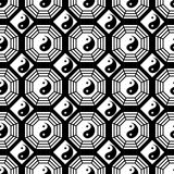 Taiji Bagua black and white symmetry seamless pattern Royalty Free Stock Photo