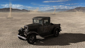 Illustration Desolate Desert Old Truck Stock Photography