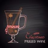 Illustration dessinée par craie colorée de vin chaud de Noël illustration libre de droits
