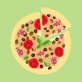 Illustration Dessin appétissant de vintage de pizza Photo stock