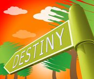 Illustration Destiny Sign Displaying Progress And-Prophezeiungs-3d Lizenzfreies Stockbild
