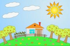 Illustration det lantliga landskapet i sommar. Arkivfoton